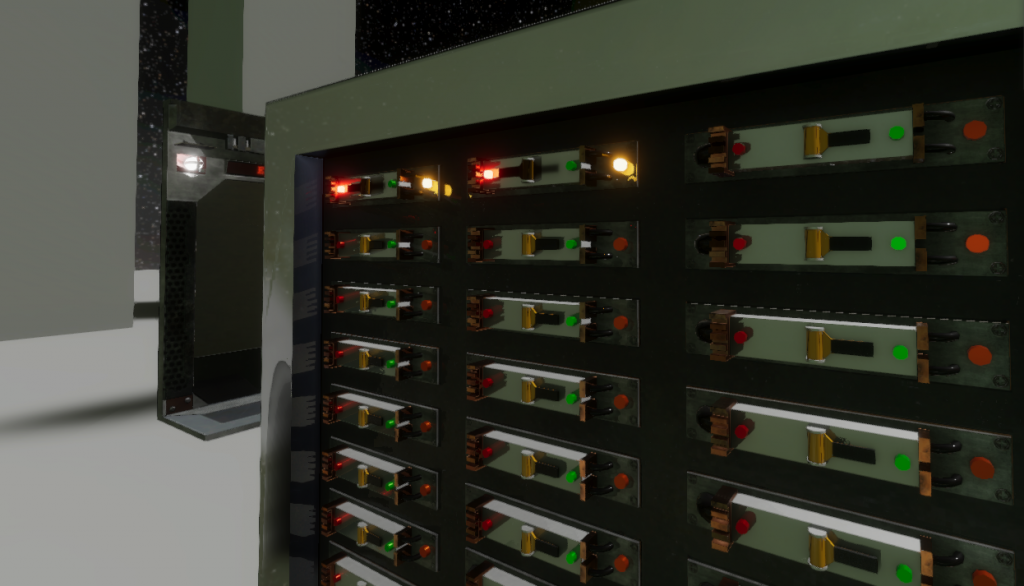 In-game screenshot closeup of the power distribution panel players use for repairs