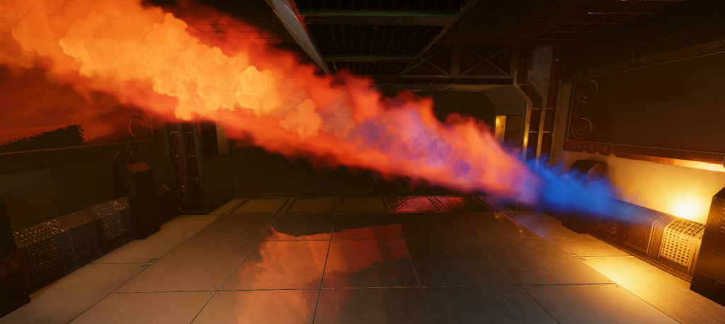 In-game screenshot of a burst pipe with a jet of lame in a corridor