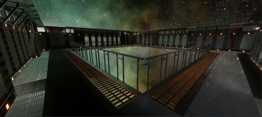 In-game screenshot of a prefab room with an empty center for map generation