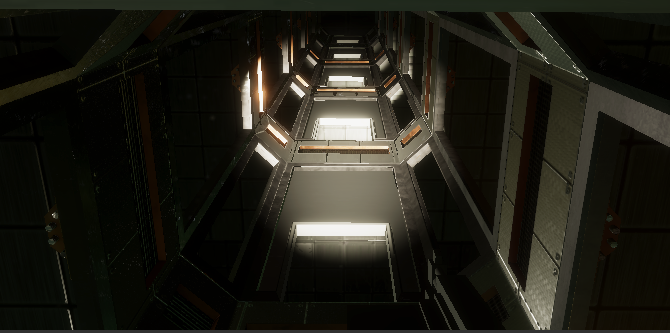 First in-game screenshot of an elevator for the spaceship mall
