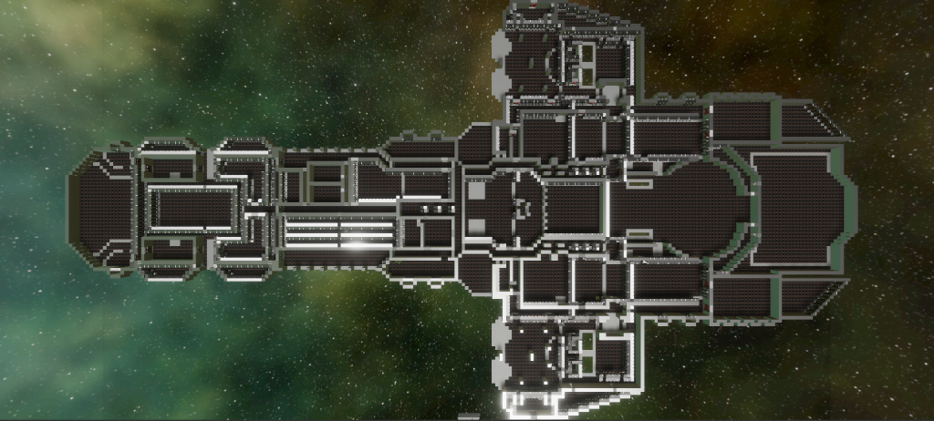 Top-down in-game screenshot of spaceship interior generated from a pixel map