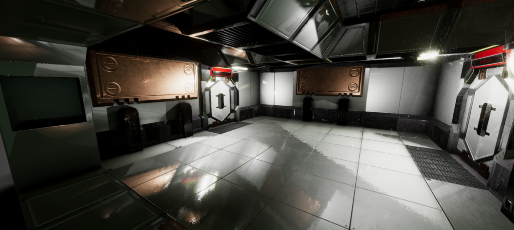 In-game screenshot of a small room show the renderer working